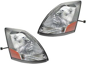 New Chrome Headlight PAIR FOR 2004-2018 Volvo VT VNL VNM VN Series Truck