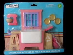 KidKraft Dollhouse Kitchen Upgrade-Farmhouse Sink-Stool-Plates-Mixer-Recycle Bin