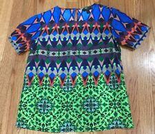 J. Crew Size 00 Floral Shirt 100% Silk Women's Work Casual Blue Short Sleeve XS