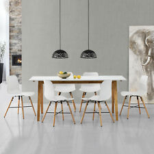 [en.casa] Dining Table White with 6 Chairs 180x80 Kitchen Pattern