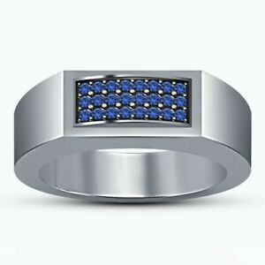 Mens Ring 0.50 Carat Round Cut Blue Sapphire Wedding Band 10K White Gold Finish