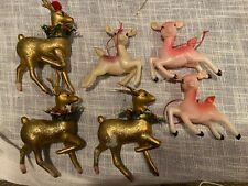 Vtg Soft Plastic Christmas Gold Pink White Reindeer Ornament
