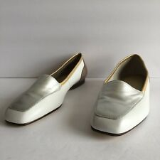 "Worthington ""Linda"" Ivory Gold Silver Leather Square Toe Flat Loafers Size US 7M"