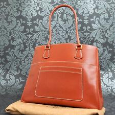 Rise-on Vintage HERMES LA Box Calf Leather Red Brown Handbag Tote bag #202