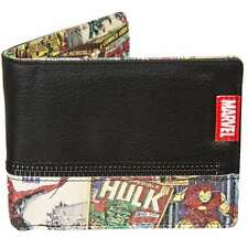 MARVEL COMICS INSIDE PRINT ZIP BLACK BI FOLD WALLET NEW IN GIFT BOX