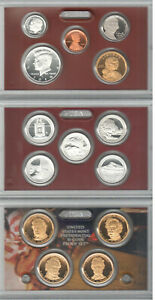 FROSTY CAMEOed 2010-S 14 Pc SILVER PROOF SET ORI BOX WITH ALL KEY COINS & PAPERS