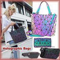 丿Geometric Luminous Drawstring Bag Holographic Reflective Gym Bags for Women Men