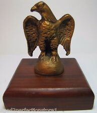 Old Cast Iron Eagle Paperweight detailed figural metal bird mounted on wood base