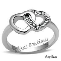 WOMEN'S GIRLS AAA CZ STAINLESS STEEL FOREVER DOUBLE HEART PROMISE RING SIZE 5-10