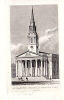 1840 Vittoriano Stampa ~ San MARTIN'S Chiesa London Lane
