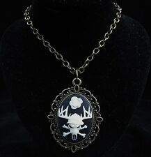 "24""  Vintage Style Deer Skull Cameo Pendant Necklace"