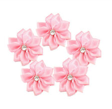 50 DIY Pink Ribbon Flowers Rhinestone Wedding Scrapbook Decorative Wreaths 30mm