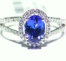 2.19ct 14k ORO Tanzanita Natural Diamante Vintage AAA Anillo Compromiso Boda