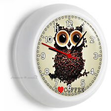I LOVE COFFEE OWL DARK ROAST BEANS CUP TIME WALL CLOCK KITCHEN DINING ROOM DECOR