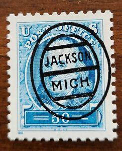 Michigan MI precancel 3139a- L-1E Jackson Oval 50c Franklin RARE Only 2 known