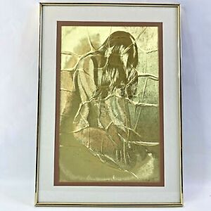 Manifestations Optical Illusionary Art Gold Kneeling Woman Matted Framed