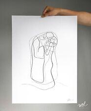 Gustav Klimt The Kiss Minimal Line Art, Abstract Single Line Drawing, Silkscreen
