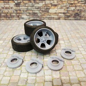 "1/24 Scale 3D Print 20"" Staggered Depth Foose Genuine F210 Wheels Tires & Brakes"
