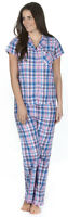 Ladies Short Sleeve Pyjamas Summer Traditional Full Length Check Tartan Collar