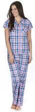 Ladies Short Sleeve Pyjamas Summer Traditional Full Length Check Tartan Collar