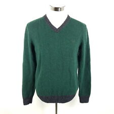 Vintage fred perry suéter señores L (como M) verde gris lana made in italy Knit