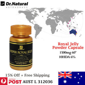 Immune Energy booster - Dr Natural Royal Jelly Powder 1500mg 10HDA 6% 60caps.