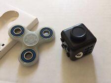 Fidget Hand Tri-Spinner Cube 2 PCS EDC Focus Stress Toy White Glow In The Dark