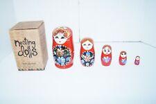 (Set of 5) Nesting Matryoshka Babushka Dolls Wooden Owl Hand Painted Earthbound