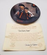 Norman Rockwell Collector Plate Music Maker Accordion 1981 W/Coa