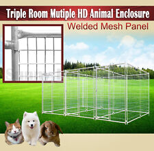 Triple Room Heavy Duty Animal Enclosure Fencing Dog Space Run Kennel Outdoor BNE