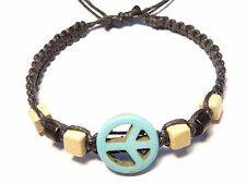 Bracelet Peace and Love brésilien Friendship Bijoux Macramé Ajustable bleu noir