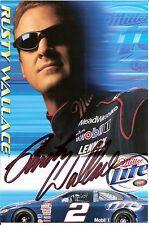 2003 RUSTY WALLACE signed NASCAR MILLER LITE PHOTO CARD POSTCARD PENSKE DODGE wC