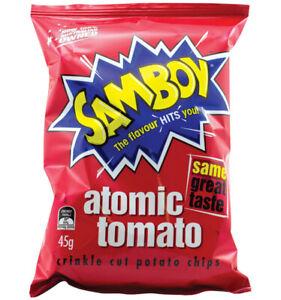 Samboy Tomato Chips 18 packs in the box.