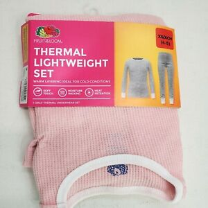 Fruit of the Loom Girl's Thermal Underwear Lightweight Set size XS (4-5) Pink