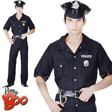 Officier de police USA + HAT New York pour homme COP robe fantaisie costume adulte uniforme nouveau