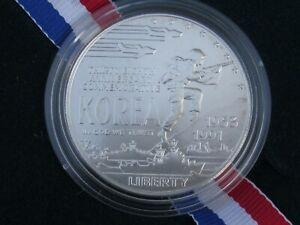 1991 US Mint Korean War Memorial Coin Uncirculated Silver Dollar with Box & COA