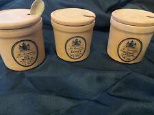 Beautiful Mr Brannam's Terracotta 3 Pots Jars w/Lids Honey~Preserves~Marmalade