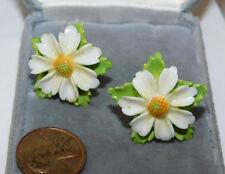 British Vintage Painted Fine Bone China White Daisy Flower Screw Earrings VGC