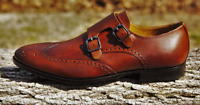 Pair Of Kings Shoes Men's Straight Brandy Brown Leather Monk Strap Handmade Shoe