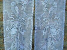 French lace motif bird a pair of white pastel curtain 17.5'' x 53.5'' of each