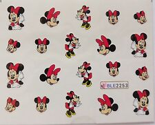 Nail Art Glitzy Red White Minnie M Red Bows Girlie Nail Water Decal Sticker 2253