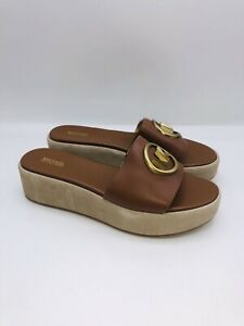 Michael Kors Women's Sadler Wedge Sandals Luggage US 10M  #B-28