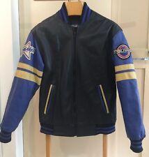New listing Cool Vintage Mens Small Genuine Polaris Snowmobiles Black & Blue Leather Jacket