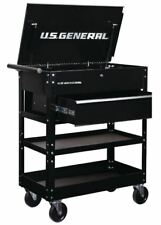 New 30 in. Tool Storage Box Cart, Solid Glossy Black, Utility Drawer Garage Tech