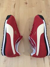 New Puma Roma Suede Athletic Shoes- SZ 9 Red Cream Black White-365437