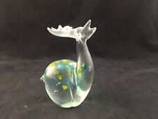TINY MINIATURE HANDMADE GLASS WHALE FIGURINE STATUE YELLOW & BLUE SPECKLES-4 IN.