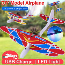 Electric Plane LED Foam Airplane Hand Launch Throwing Aircraft Model DIY Toys