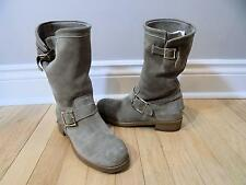 JIMMY CHOO Boots - Authentic Yen Suede Leather Biker Whiskey 38.5