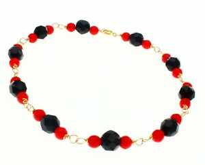 New Real Solid 14K Yellow Gold Coral & Onyx Bead Hand Made Bracelet 8 Inch Long