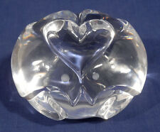 Signed Steuben Crystal Glass Paperweight Hand Cooler Love Object 2 Turtle Doves
